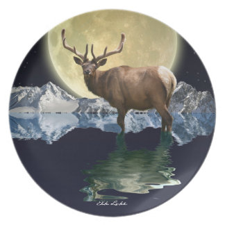 Elk, Moon & Montains Wildlife-lover Art Plate