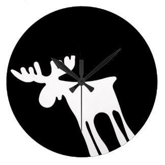 Elk/Moose, white Large Clock