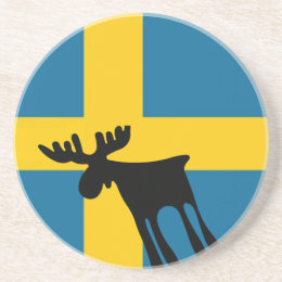 Elk/Moose with the Swedish flag Drink Coaster