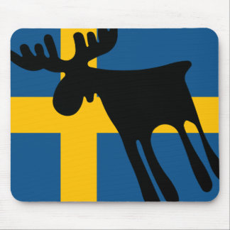 Elk/Moose with the Swedish flag Mouse Pad
