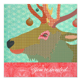 Elk Ornament Turquoise Red Card