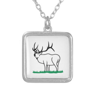 Elk Outline Silver Plated Necklace