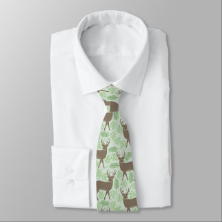 Elk Pattern Green Nature Neck Tie