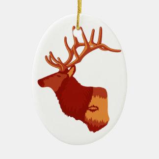 Elk Profile Ceramic Ornament