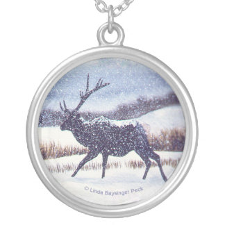 Elk Runnig in the Snow Silver Plated Necklace