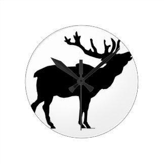 elk shilouette peace joy calm round wall clock