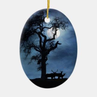 Elk Silent Night Xmas Ornament