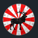 "Elk Silhouette Dartboard With Darts<br><div class=""desc"">Black and white design featuring an elk in silhouette.</div>"