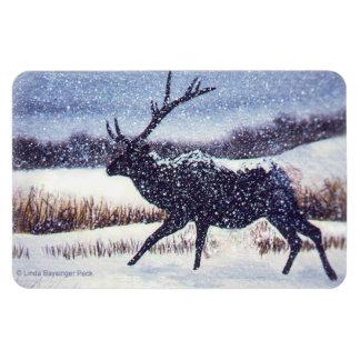 Elk Silhouette in the Snow Rectangular Photo Magnet