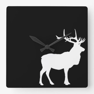 Elk Silhouette Square Wall Clock