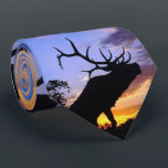 """Elk silhouette Tie<br><div class=""""desc"""">A magnificent bull elk silhouetted against the sky.</div>"""