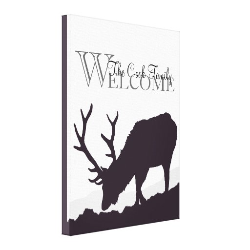 Elk Silhouette Welcome Canvas Print