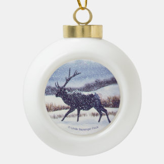 Elk Silhoutte in the Snow Ceramic Ball Christmas Ornament