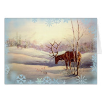 ELK & SNOWFLAKES by SHARON SHARPE Card