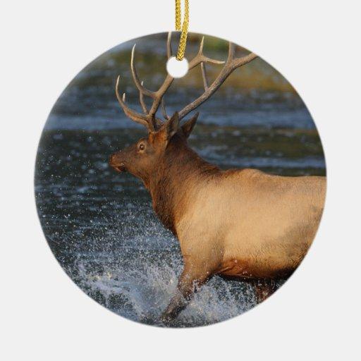 elk splash Double-Sided ceramic round christmas ornament