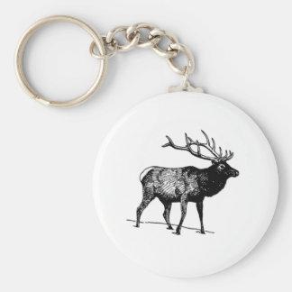 Elk - Wapiti (line art) Key Chain