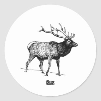 Elk - Wapiti (line art) Round Stickers