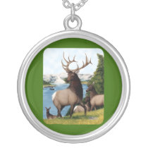 Elk Wapiti Silver Plated Necklace