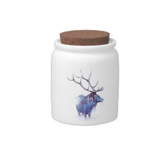 Elk Watercolor Candy Jar