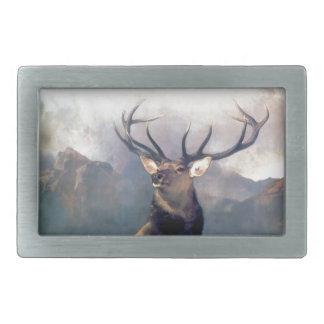 Elk wild animal painting rectangular belt buckle