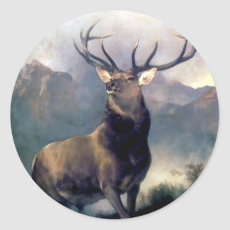 Elk wild animal painting classic round sticker