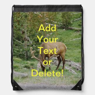 Elk with Velvet Antlers Drawstring Bag