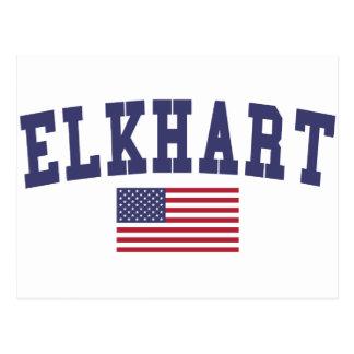 Elkhart US Flag Postcard