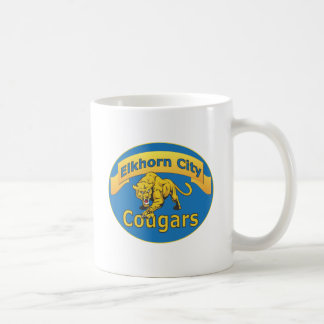 Elkhorn City Cougars with Banner-blue oval Coffee Mug