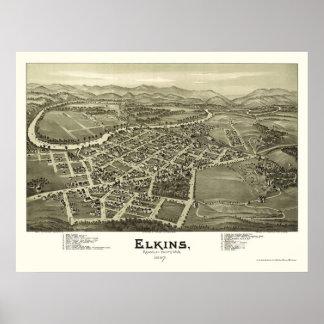 Elkins, mapa panorámico de WV - 1897 Póster