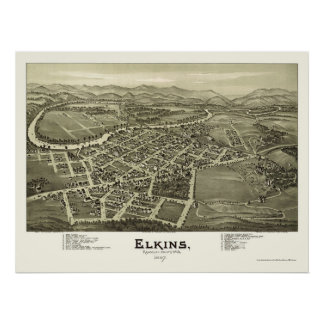 Elkins, WV Panoramic Map - 1897 Poster