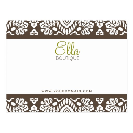 Ella #1 Brown Damask Chic Bow Card Postcard