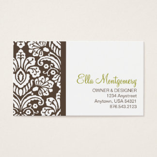 Ella #2 Chic Brown Damask Business Cards