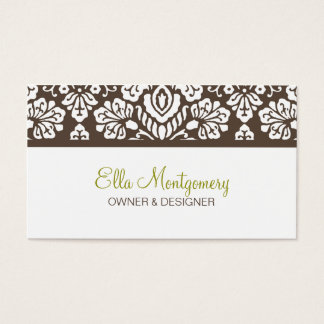 Ella #3 Brown Damask Chic Business Card