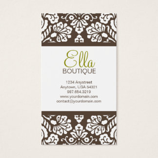 Ella #5 Brown Damask Chic Business Card