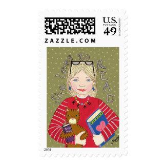 Ella ama leer timbre postal