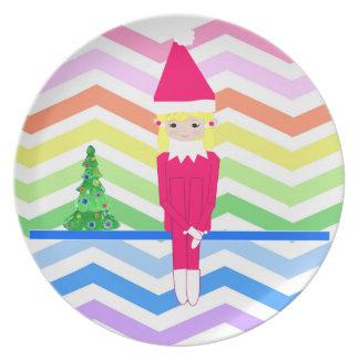 Ella and Elfie Christmas Elves Melamine Plate
