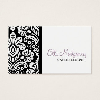 Ella Black Damask Business Card Special Listing