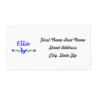 Ella (Blue Butterfly) Personalized Shipping Label