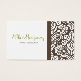 Ella Brown Damask Chic Business Card