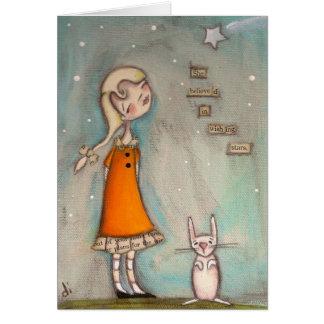 Ella creyó en desear las estrellas - tarjeta de fe