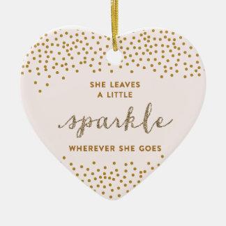 Ella deja un poco ornamento del navidad de la adorno de cerámica en forma de corazón