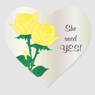Ella dijo rosas amarillos del sí | pegatina en forma de corazón