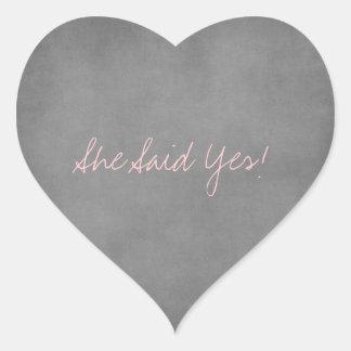 Ella dijo sí a los pegatinas calcomanía de corazón personalizadas