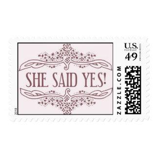 ¡Ella dijo sí! - rosa de Ceci Nueva York Timbre Postal