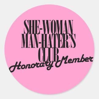 Ella el club del enemigo del hombre de la mujer pegatina redonda