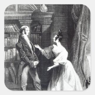 Ella entonces le dijo lo que tenía Darcy Pegatina Cuadrada