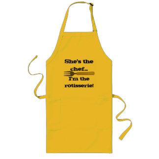 Ella es el cocinero delantal largo