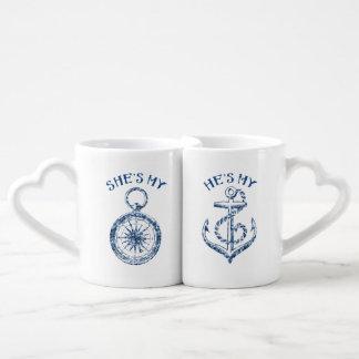 Ella es mi compás, él es mi ancla set de tazas de café