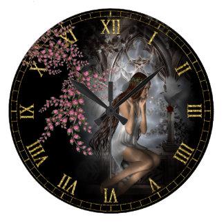 Ella espera - el reloj de pared de la ilustración