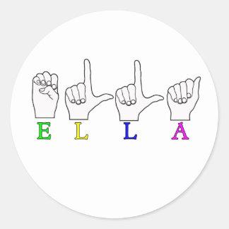 ELLA FINGERSPELLED NAME ASL CLASSIC ROUND STICKER